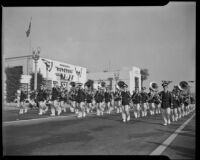 Marching band in Elks' parade, Santa Monica, 1939 or 1952