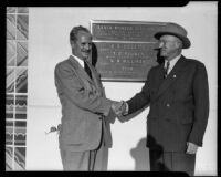 Two Men Shake Before the Dedication Plaque at City Hall, Santa Monica, 1939