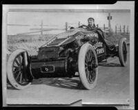Santa Monica Road Races, Barney Oldfield in race car, Santa Monica, 1911-1914, rephotographed 1950
