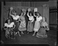 """Traviata"" cast members posing as gypsy dancers, John Adams Auditorium, Santa Monica, 1949"