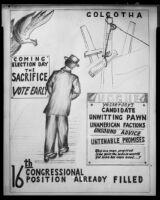 Political cartoon commenting on Congressional Representative Mark S. Hogue, 1954