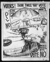 "Political cartoon featuring the ""General Pete Monkey Circus,"" commentary on Santa Monica Bay drilling, 1954"