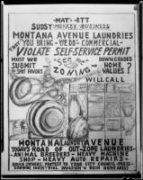 Political cartoon commenting on Montana Avenue laundries, Santa Monica, 1954