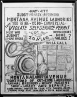 Political cartoon commenting on Montana Avenue laundries, 1954