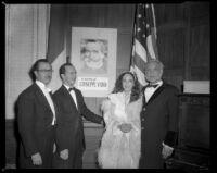 "Francisco Camacho Vega, Gene Curtsinger, Nelda Scarsella and Enrico Porta, cast members and conductor for a performance of ""La Traviata,"" Los Angeles, 1951"