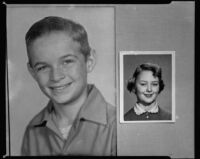 Portrait photographs of a boy and a girl (copy print), 1956
