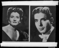 Portrait photographs of a woman and a man (copy prints)