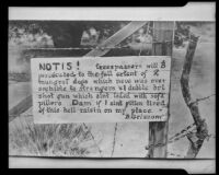 No trespassing sign, posted by B. Griscom, copy print