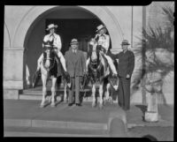 Wini and Jeri Knowlton with stallions at the City Hall steps, Santa Monica, 1938