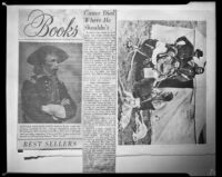 """Clipping with review of """"The Custer Myth,"""" and a photograph featuring Custer with Indian scouts, 1953"""