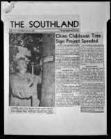 Clipping regarding Mrs. Clara Bartlett and rare trees at the Los Serranos Country Club, Chino Hills, 1953