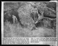 Copy of a newspaper photograph regarding petroglyphs near Bishop, rephotographed, 1954