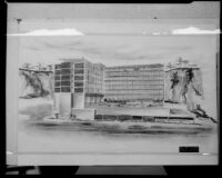 Drawing of a building by John C. Lindsay, A.I.A. Architects & Engineers, probably 1953-1957