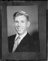 Portrait of a young man who was featured in a Roosevelt Elementary School performance, Santa Monica, copy print, circa 1956