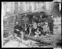 William H. Brown and others at a cabin in the Yukon territory during the gold rush, original photograph 1898