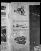 Page from a publication describing mining equipment and petroglyps in the Mojave Desert, circa 1950s