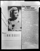 Clipping regarding Florence Timmerhoff, dramatic soprano, circa 1952