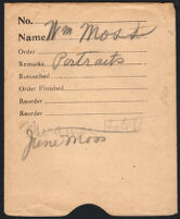Negative sleeve identifying portraits of William Moss