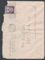Envelope addressed to Adelbert Bartlett, from Mary Brown, 1952