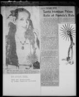 Newspaper article with a photograph of Betty Herrick holding an antique spur, 1953