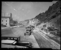 Widening and improvement work of the Roosevelt Highway and California incline, Santa Monica, 1935