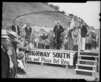 William H. Carter, mayor of Santa Monica, at the official opening of the Roosevelt Highway after it had been widened, Santa Monica, 1935