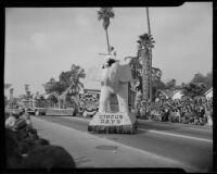 """Circus Days"" float in the Tournament of Roses Parade, Pasadena, 1949"