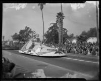 """""""First Formal"""" float, entered by Pasadena city schools in the Tournament of Roses Parade, Pasadena, 1949"""