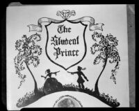 """Illustration on the front page of the program for a performance of """"The Student Prince,"""" 1952"""