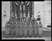 Women's Ambulance Defense Corps on the steps of City Hall, Santa Monica, 1941