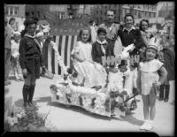 """World Peace"" float at the Annual Ocean Park Children's Floral Parade, Santa Monica, 1936"