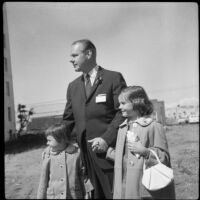 Architect John C. Lindsay with his step daughters June and Anne Lockhart at the future site of Pacific Plaza, Santa Monica, 1962