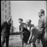 John C. Lindsay with June Lockhart, Patrice Munsel and an official at the ground breaking ceremony for Pacific Plaza, Santa Monica, 1962