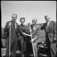 John Lindsay, June Lockhart and 2 officials at the ground breaking ceremony for Pacific Plaza, Santa Monica, 1962