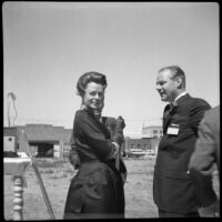 Actress June Lockhart with her husband, architect John C. Lindsay, at the future site of Pacific Plaza, Santa Monica, 1962