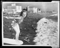 Jean Moorhead surfing at the Elks convention, composite photograph, Santa Monica, 1951