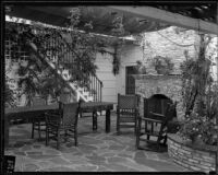 Will Rogers ranch house, patio, Pacific Palisades, 1935
