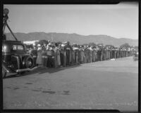 Mourners attending the arrival of the bodies of Will Rogers and Wiley Post at Union Air Terminal, Burbank, 1935