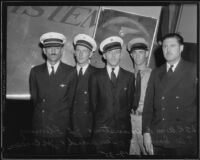 Portrait of the five pilots who flew the bodies of Will Rogers and Wiley Post to Union Air Terminal, Burbank, 1935