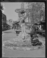 Olvera Street cross with a tribute to Will Rogers, Los Angeles, 1935
