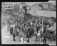 Bird's-eye view of crowd at ground breaking for Hollywood post office, Hollywood, 1935