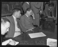 Robert S. James, suspect in Lois Wright morals case and Mary Emma James murder case, and lawyer Samuel Silverman in court, Los Anglels, 1936