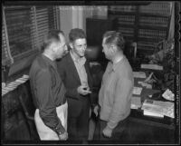 District Attorney Buron Fitts with Joe Houtenbrink and Charles Hope, witnesses in Mary Emma James murder case, 1936