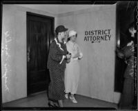 Investigator Marjorie Fairchild and Lois Wright, witness in Mary Emma James murder case, Los Angeles, 1936