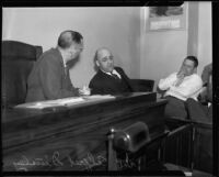 Dr. Alfred Dinsley, witness in Mary Emma James murder case, on witness stand, Los Angeles, 1935