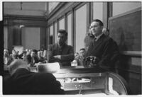 Robert S. James, convicted in Lois Wright morals case and suspect in Mary Emma James murder case, at sentencing, with lawyer Samuel Silverman, Los Angeles, 1936