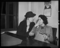 Investigator Marjorie Fairchild questioning Lois Wright, witness in Mary Emma James murder case, 1936