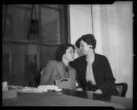 Lois Wright, witness in Mary Emma James murder case, with investigator Marjorie Fairchild, Los Angeles, 1936