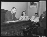 Viola Lueck, witness in Mary Emma James murder case, on witness stand, Los Anglels, 1935