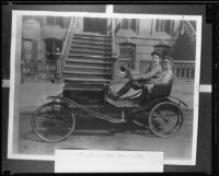 Actor Buster Keaton and Harry Keaton as children, in open car, circa 1910, rephotographed [1930s?]